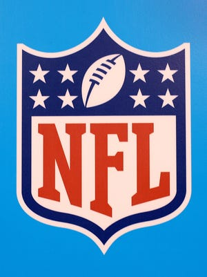 """The National Football League """"Shield"""" or NFL logo Saturday, August 23, 2014, evening at Lucas Oil Stadium."""