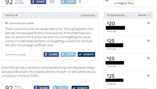 This is how the GoFundMe page for the Collin Murray scholarship fund appeared in May 2015. The names of the donors have been redacted.