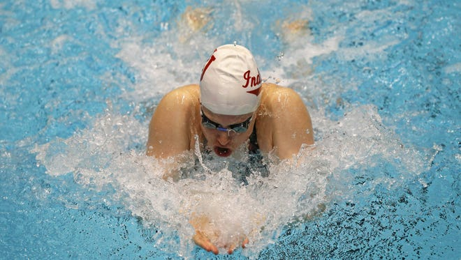 Lilly King competes in the women's 100m breaststroke Friday during the 2017 USA Swimming Phillips 66 National Championships at Indiana University Natatorium.