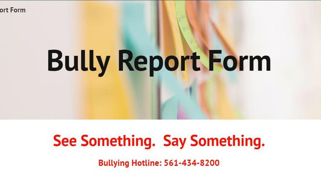 Palm Beach County School District's Bully Hotline page and its new phone number.
