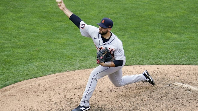 Detroit Tigers pitcher Bryan Garcia throws against the Minnesota Twins in the ninth inning of a baseball game Sunday, Sept. 6,  2020, in Minneapolis. Garcia picked up a save as the Tigers won 10-8.