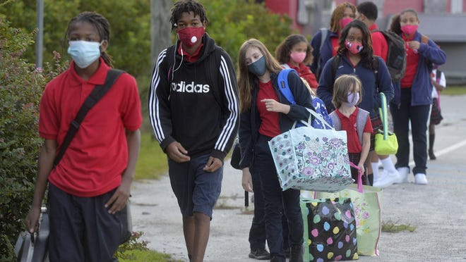 Students are in line for the first day of classes at Savannah Classical Academy.