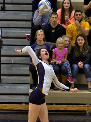 Sarah Skinner had 21 kills and helped open up opportunities for the Eagles' outside hitters as Hartland beat Lakeland in four games for the Lakes Conference championship Tuesday night.