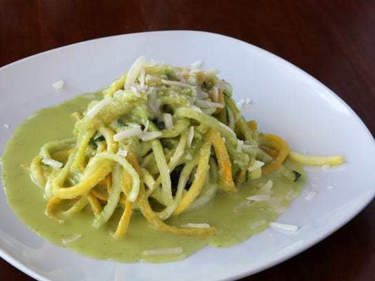 Zoodles, or noodles made from yellow and green zucchini