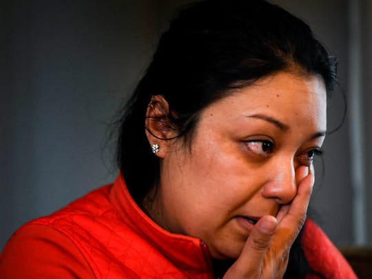 Abigail Velasquez cries as she talks about the death of her husband, Ivan Sanchez, at her home in Nashville on Monday, March 19, 2018.