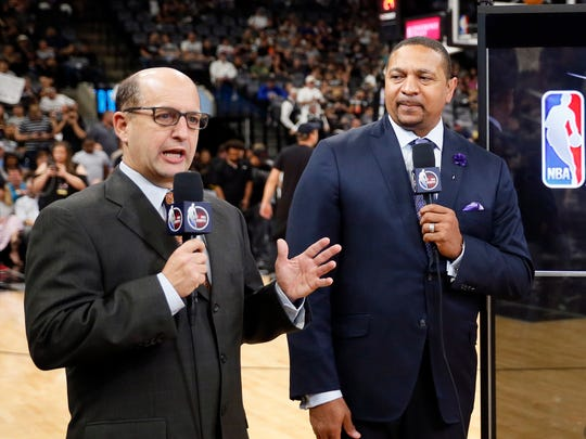 ESPN broadcasters Jeff Van Gundy and Mark Jackson before Game 4 of the Western Conference finals.