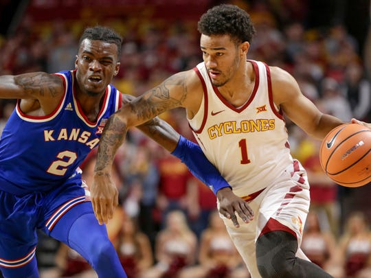 Iowa State's Nick Weiler-Babb (1) drives to the basket