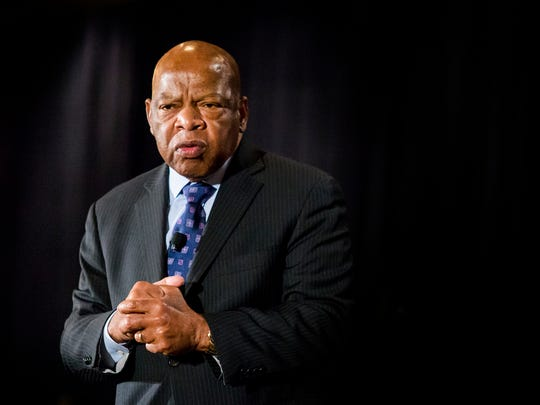 Rep. John Lewis speaks at a town hall meeting at the DoubleTree Hotel in Wilmington Friday afternoon.