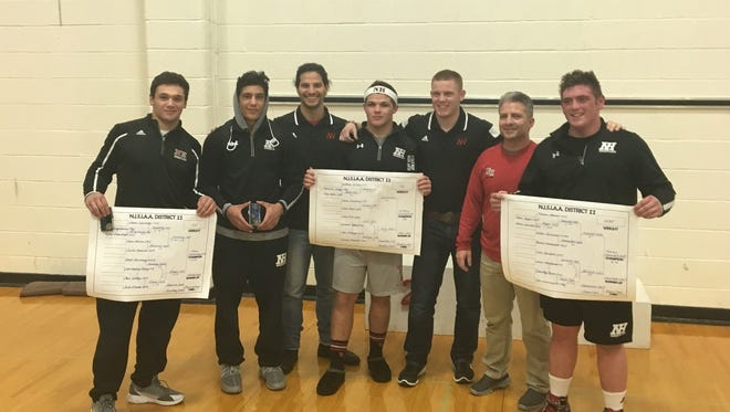 Northern Highlands wrestling: (from left) Shane Sonsinsky, Gabe Robles, assistant coach Will Esposito, Anthony Sciuto, assistant coach Zack Bascio, head coach Tom Walsh and Thomas Hamrah.