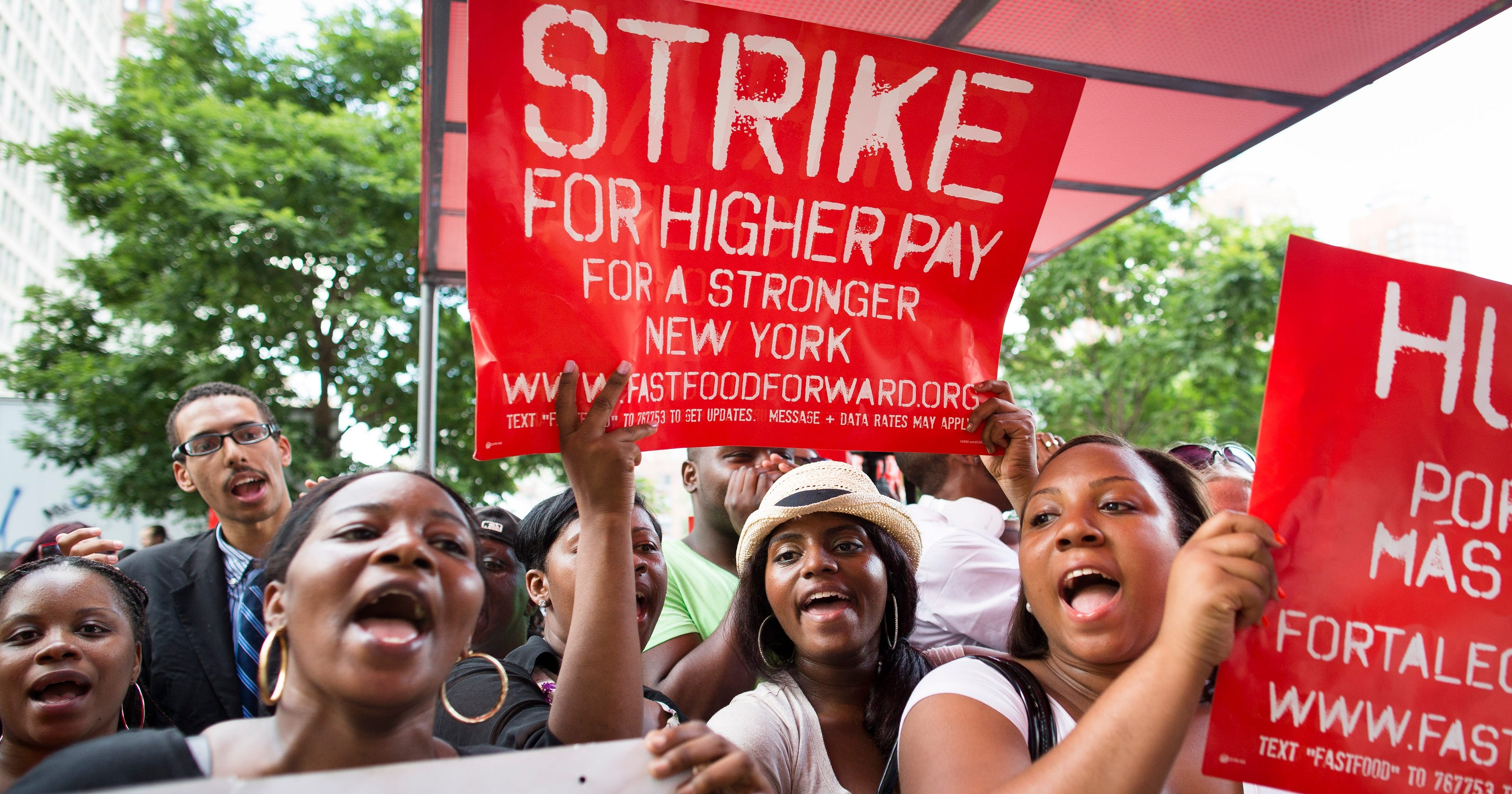 Fast-food workers strike for higher pay