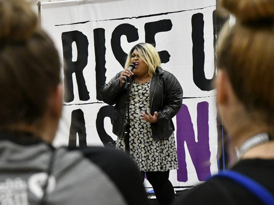 Kiki Fierce performs at the first Rise Up As One Youth Summit at College of the Sequoias on Saturday.