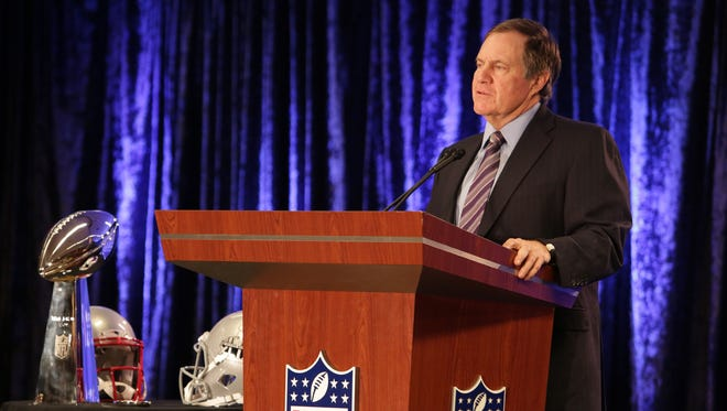 New England head coach Bill Belichick addresses the media at a press conference in downtown Phoenix after his team won Super Bowl 49 as seen on Feb., 2, 2015 in Phoenix.