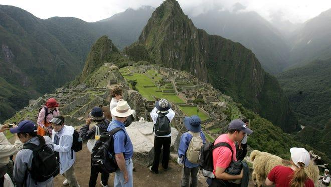 Tourists at Machu Picchu in Peru in 2008.