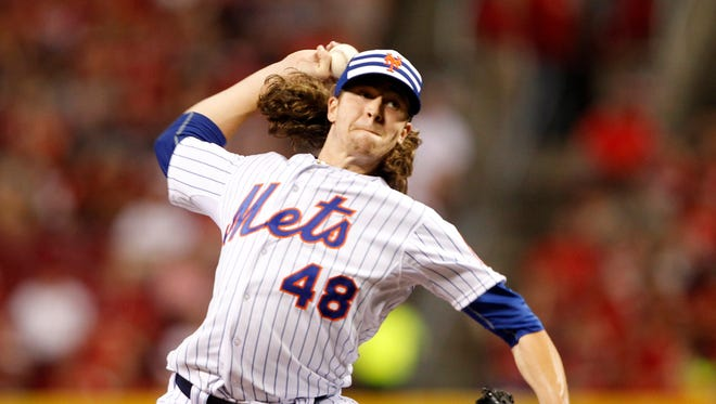 National League pitcher Jacob deGrom of the New York Mets throws against the American League during the sixth inning of the 2015 MLB All Star Game at Great American Ball Park on July 14, 2015.