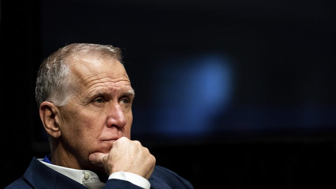 """In this June 11 photo, Sen. Thom Tillis, R-N.C., attends a Senate Judiciary Committee business meeting to consider authorization for subpoenas relating to the Crossfire Hurricane investigation and other matters on Capitol Hill in Washington. Tillis said Friday he """"fell short of my own standard"""" by failing to keep his face mask on in the White House crowd while listening to President Donald Trump accept the Republican nomination."""