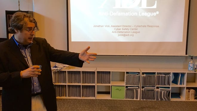 Jonathan Vick, assistant director of the Anti-Defamation League's Cyberhate Response unit, speaks to members of Nashville's Jewish community Tuesday about addressing anti-Semitism online.