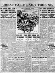 Front page of the Great Falls Daily Tribune on Monday, July 2, 1917.
