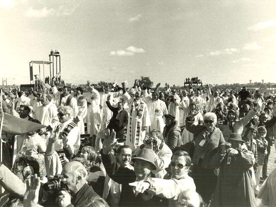 Pope John Paul II visits Living History Farms in Urbandale on Oct. 4, 1979.
