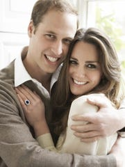 Prince William and fiance Kate Middleton on their engagement.