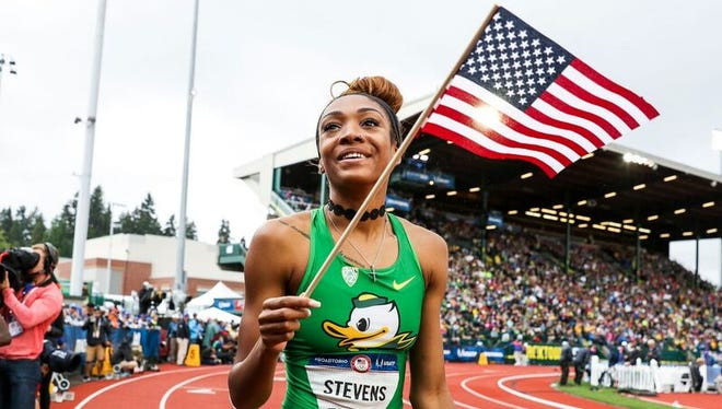 Deajah Stevens after she qualified for the Olympic Games.