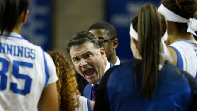 Kentucky Wildcats head coach Matthew Mitchell reacts during the game against the Dayton Flyers in the second round of the women's NCAA Tournament at Memorial Coliseum. The Dayton Flyers defeated the Kentucky Wildcats 99-94.