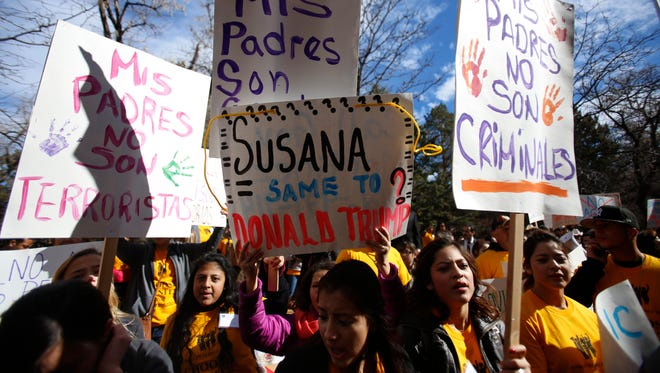 People protest at anti-discrimination rally outside of the State Capitol on on Jan. 25. About 200 people showed up to support Somos Un Pueblo Unido to fight the Real ID driver's license House Bill 99.