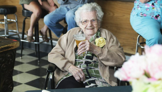 Oshkosh native Grace Stadler celebrated her 106th birthday at her favorite bar, Leroy's, on Knapp Street, with a beer and a beef sandwich on Thursday, June 2, 2016.