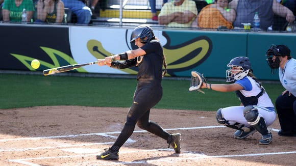 Oregon's Lauren Lindvall bats against the UCLA Bruins in Game 2 of the NCAA super regional on Sunday, May 29, 2016, at Jane Sanders Stadium in Eugene. Bruins defeated Ducks 2-1.
