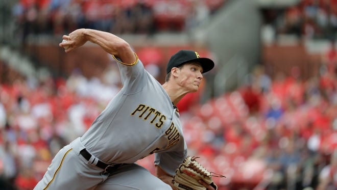 Pittsburgh Pirates starting pitcher Tyler Glasnow throws in his major league debut during the first inning of a baseball game against the St. Louis Cardinals Thursday, July 7, 2016, in St. Louis.