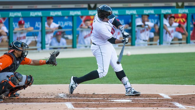 The Indianapolis Indians' Danny Ortiz swings during the Tribe's 10-4 loss Saturday against the Norfolk Tides in Indianapolis.