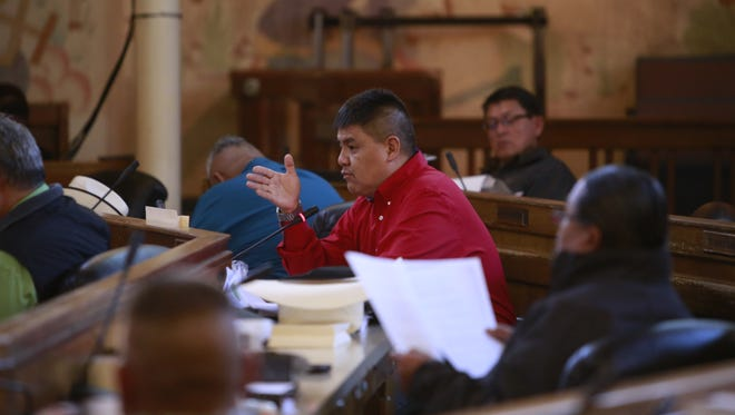 Navajo Nation Council Delegate Jonathan Hale seen in this file photo sponsored legislation to oppose hydraulic fracturing on tribal lands in April.