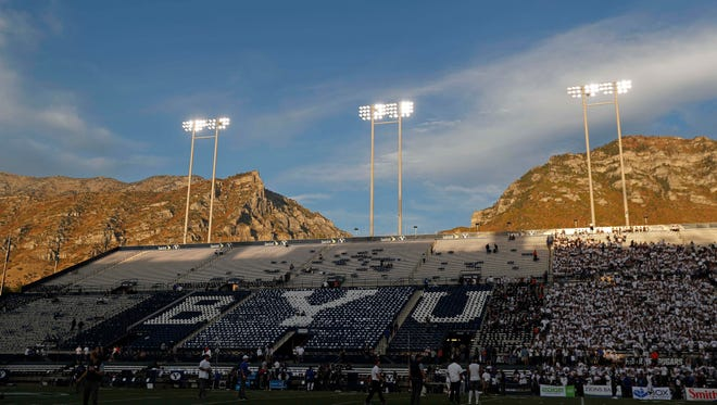 The sun sets on Lavell Edwards Stadium prior to the BYU game against UCLA.