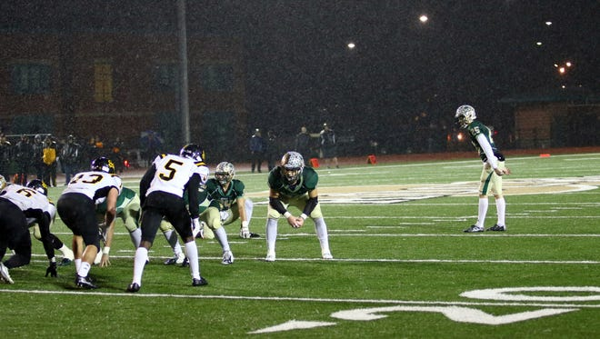 Will Harrison lines up for one of his three field goals in the Shamrocks' 23-17 win over Fort Wayne Snider on Friday night.
