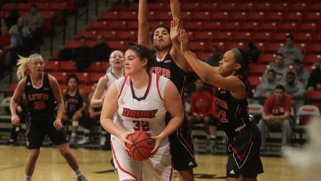 Drury's Hannah Dressler and Lewis post Jessica Kelliher were committed to an afternoon positioning battle in the paint.
