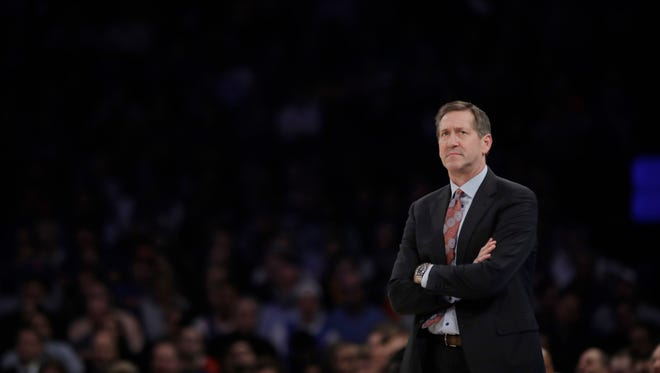New York Knicks head coach Jeff Hornacek watches during his team's loss to the Los Angeles Lakers.