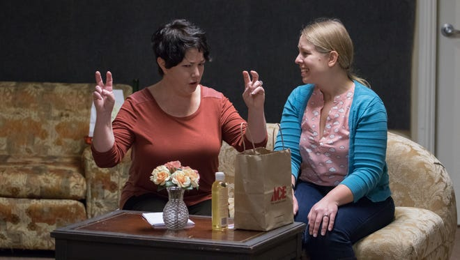 """Laura Davis as Franny Stornant and Holly Giesbrecht as Jean Farrell are seen in """"Emma's Child."""" The show runs March 3-25 at the Pentacle Theatre."""