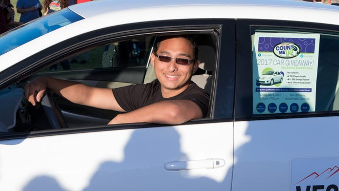 Las Cruces High School junior Ernest Padilla was the lucky student who won a 2011 Toyota at the ninth annual Count Me In! car giveaway on May 4, 2017.