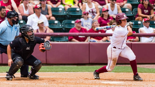 Florida State freshman Anna Shelnutt smacks a two-run home run during the second inning of the Seminoles 7-1 victory over Georgia on Saturday in the NCAA Tallahassee Regional at JoAnne Graf Field.