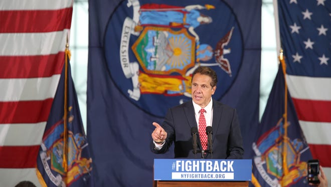 New York Gov. Andrew Cuomo speaks at a rally on June 6, 2017, in New York. Cuomo and House Minority Leader Nancy Pelosi, D-Calif., are hoping to increase the number of congressional seats held by the Democratic Party.