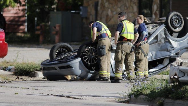 Rollover accident at REO and MLK