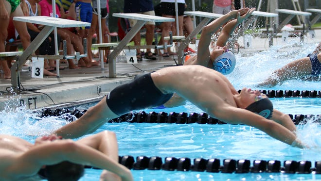 Swimmers launch themselves from the start during the backstroke race at the Collier County Athletic Conference swimming and diving championships at Norris Pool in Naples, Florida on Saturday, Oct. 7, 2017.