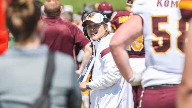 Marshall High School junior Maddie Reynolds served as an honorary coach during the Chippewas spring game in Mt. Pleasant on April 22, 2017.