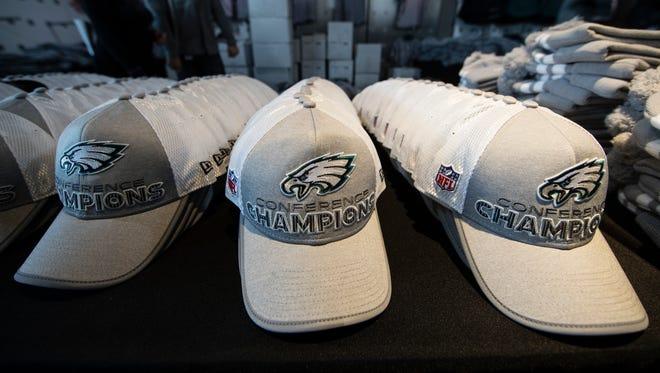 Philadelphia Eagles merchandise is displayed in Philadelphia, Monday, Jan. 22, 2018.