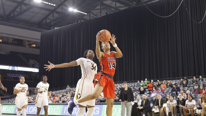 Junior Guard Najala Howell goes up for a layup against Southern Mississippi March 7 in Frisco during the Conference USA tournaments opening round.