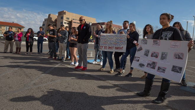 New America School students and staff participate in the nationwide school walkout at 10 a.m. Wednesday, March 14, 2018, the one-month anniversary of the school shootings in Parkland, Florida.