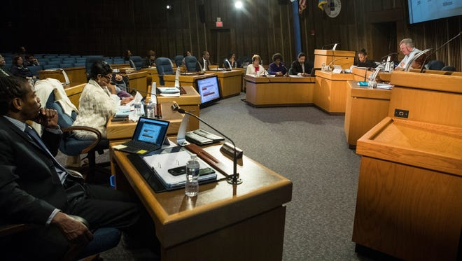 Wilmington Treasurer Velda Jones-Potter speaks to the Wilmington City Council Monday night at the City Council Chambers.