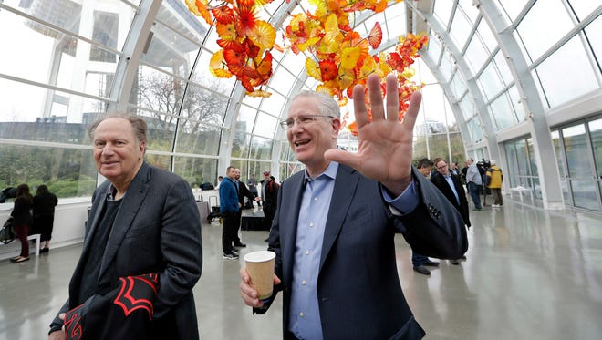 Tod Leiweke, right, and majority owner David Bonderman will be major players in the anticipated new NHL franchise in Seattle.