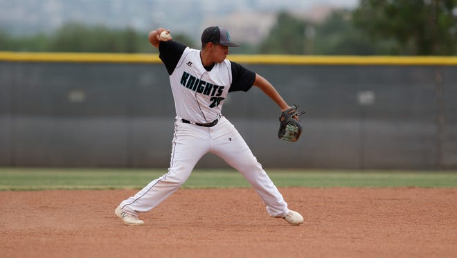 Oñate's Alex Velasco fires the ball to first base for the out during the 2018 North versus South Baseball All-Star Classic on Saturday at the Field of Dreams Baseball Complex.