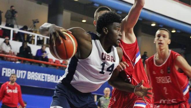 Isaiah Stewart during a scrimmage against Serbia before the start of the FIBA U17 World Cup Basketball Tournament in Argentina.