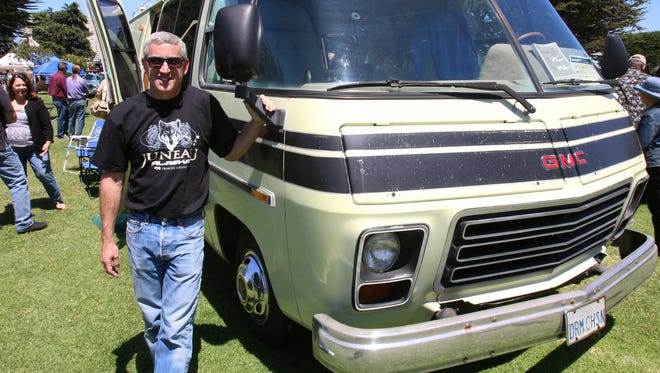 Tony Weir, from Hollister, Calif., and his 1977 GMC Motor home at the Concours D'LeMons in Seaside, Calif.